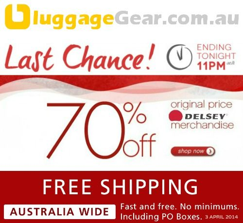 CLEARANCE SALE ON SELECTED DELSEY LUGGAGE. 70% OFF. ENDS TONIGHT http://www.luggagegear.com.au/search.php?q=dc70