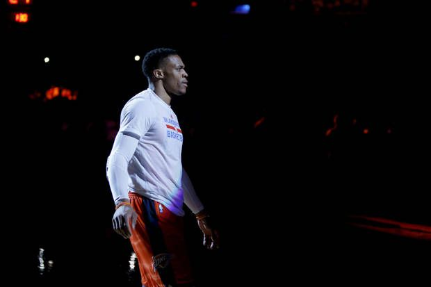 Oklahoma City's Russell Westbrook stands during the player introductions before Game 4 in the first round of the NBA basketball playoffs between the Oklahoma City Thunder and the Houston Rockets at Chesapeake Energy Arena in Oklahoma City, Sunday, April 23, 2017. The Thunder left 113-109. Photo by Bryan Terry, The Oklahoman