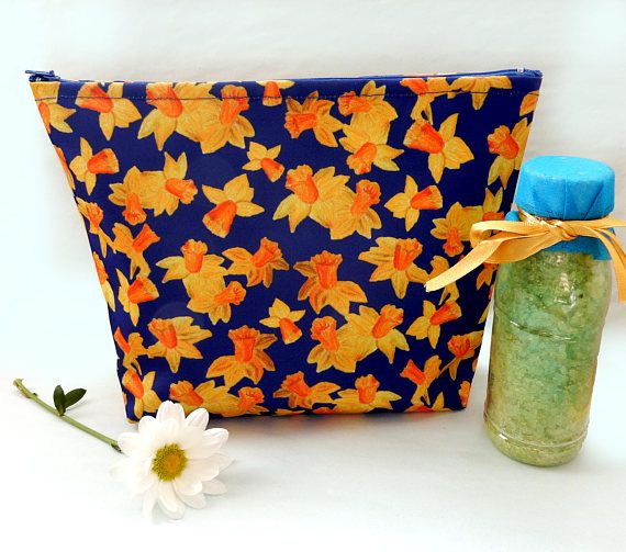 Daffodil wash bag  large floral cosmetics bag  water