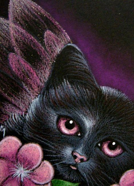 fantasy pictures of cats | Art: BLACK PINK FAIRY CAT - PINK WINGS by Artist Cyra R. Cancel