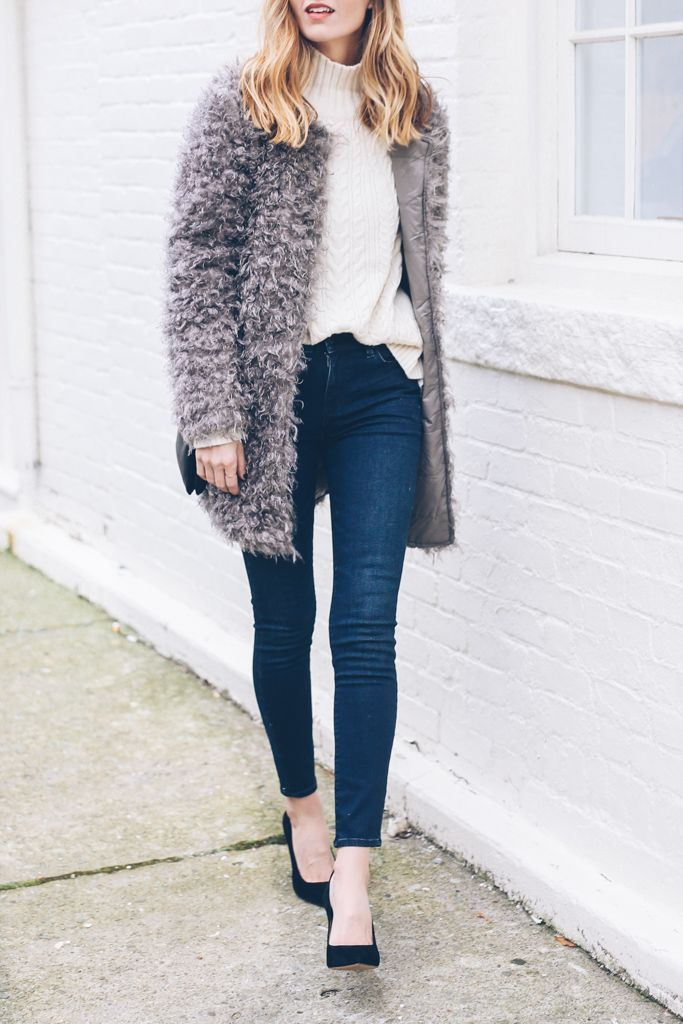 Cozy and Chic: Boucle Coat and Cable Knit Sweater