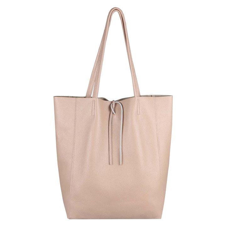 OBC Made in Italy DAMEN LEDER TASCHE DIN-A4 Shopper Schultertasche Henkeltasche Tote Bag Metallic Handtasche Umhängetasche Beuteltasche Rosa – Italyshop24.com