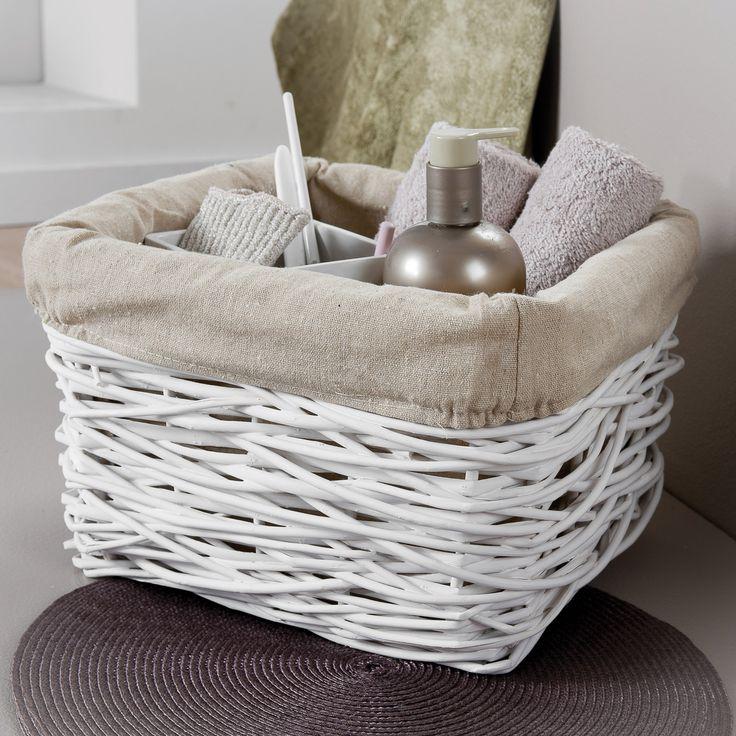 Panier de rangement en osier teinté tressé avec housse amovible CRAZY (Compactor Home)