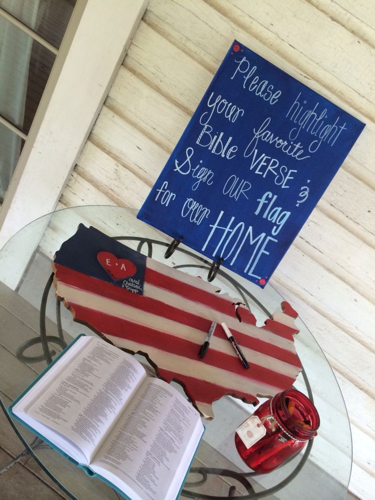 $12.99 from hobby lobby United States guest book . Hand painted over chevron and had guests write their names to hang in our military home(s) #miltarywedding #marine #diy