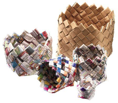 Canadian Living magazine shows us how to make baskets from recycled newspapers, with cute results.