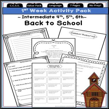 Back to School ~  4th, 5th, 6th  Grade ~ First Day of School Activities! Here is a great back to school activities pack for upper elementary. Engaging first week back to school activities include:Back to School Interest Inventory, My Favorite Summer Memory, 20 Good Things about me, Back to School Scavenger Hunt (friends), Back to School Partner Interview, I Am poem directions, I Am poem template