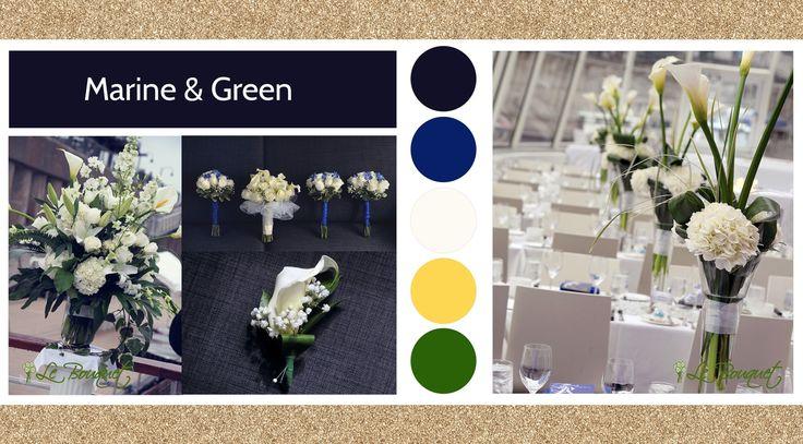 Marine & Green style board by Le Bouquet Weddings | Le Bouquet St-Laurent Florist