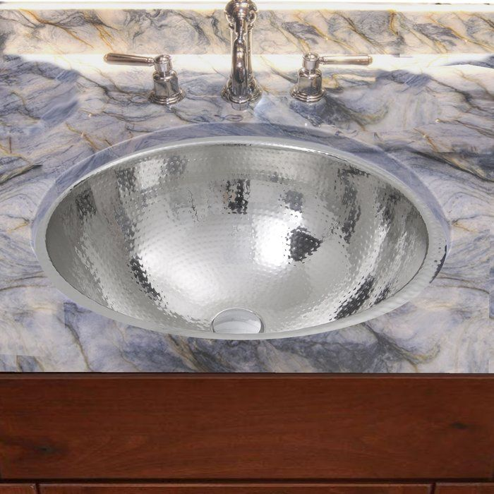 Hand Hammered Stainless Steel Circular Undermount Bathroom Sink