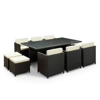 Evo Outdoor 11 Piece Dining Set In Espresso With White Cushions By Modway