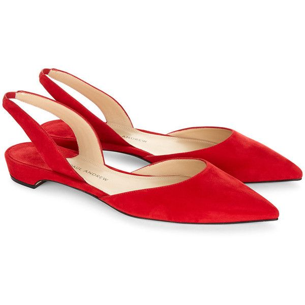 Paul Andrew Red Suede Slingback Rhea Sandals ($485) ❤ liked on Polyvore featuring shoes, sandals, flats, suede sandals, red pointy flats, pointed-toe flats, red flat shoes and red shoes