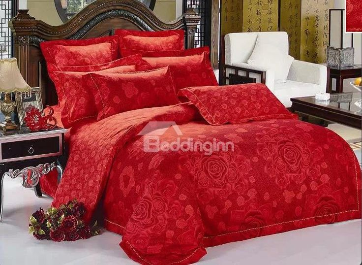 red blooming flower print 4piece polyester bedding setsduvet cover