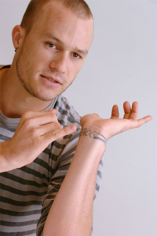 Ledger's tattoo reads KAOS (pronounced chaos). The tattoo stands for the women in his like, his mother and 3 sisters.: Kate, Ashleigh, Olivia, and Sally. He would joke that growing up was chaos!