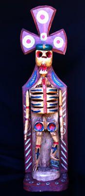 Guatemalan skeleton Woodcarved  skeleton, Day of the Dead decor.