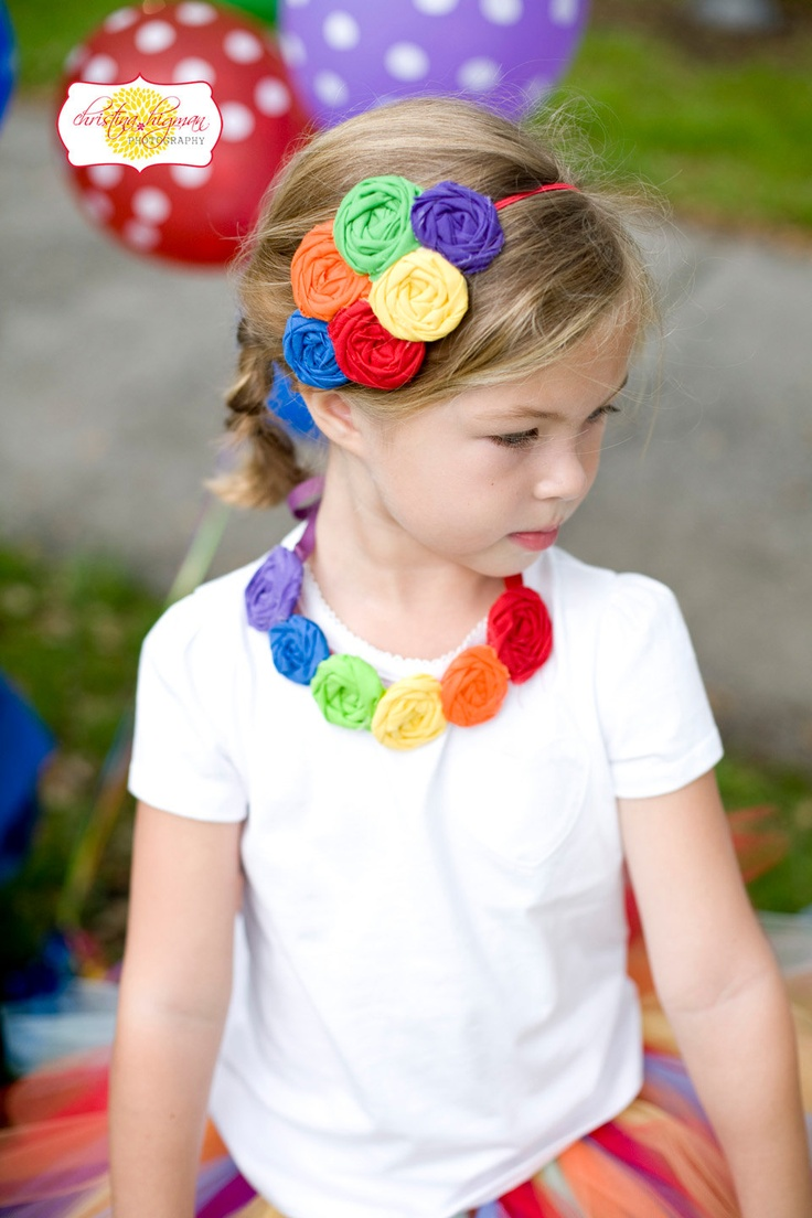 Over the Rainbow -rainbow colored rosette headband and necklace set