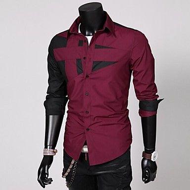 Men's Long Sleeve Blending Fashion Shirt  – USD $ 9.99