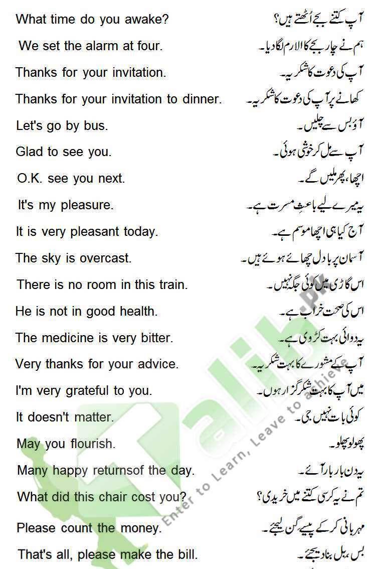 Daily Use English Sentences With Urdu Translation English