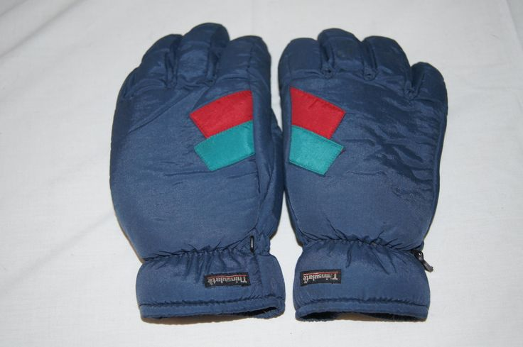 Vintage 1980s - Adult Size Blue Thinsulate gloves with green and red geometric detail with leather palms -size medium by TheMercerStreetHouse on Etsy