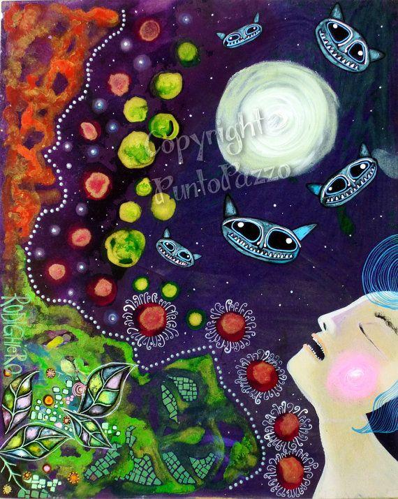 """Original Art Brut Malerei bei Sara Rodighiero. """"Die dunkle Nacht der Seele"""""""