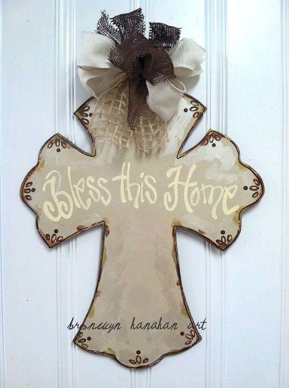 LOVE IT!!!!!!!!! Vintage Inspired Cross Door Hanger  Bronwyn by BronwynHanahanArt, $50.00