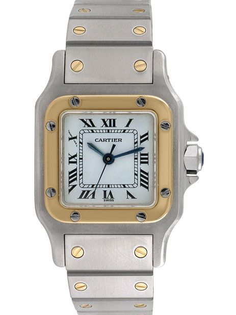 Vintage Cartier Santos Galbee 18K Yellow Gold & Stainless Steel Watch, 22mm by Cartier at Gilt