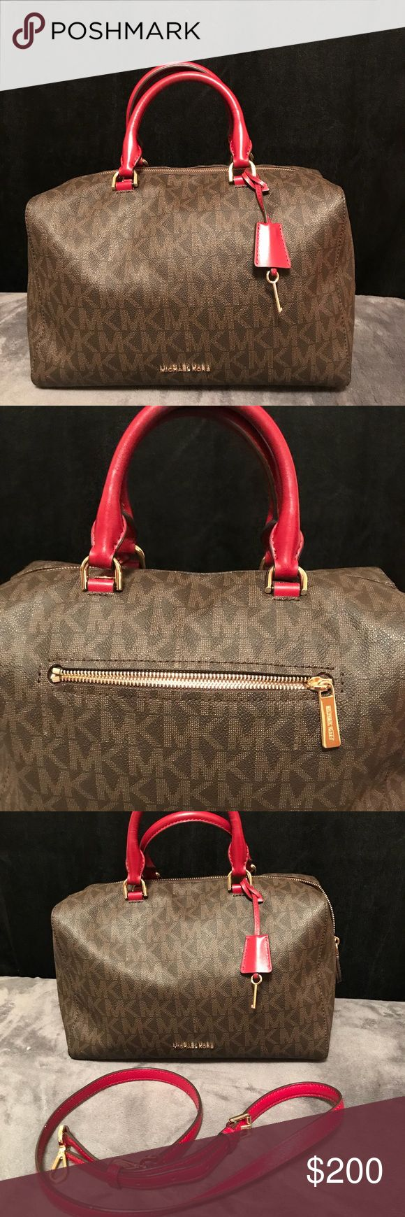 Authentic Michael Kors Kirby Satchel Color is a Wine & Brown, top zip closure with padlock detail located at the base, goldstone hardware. Two rolled handles, signature key located at the base of handles. Detachable & adjustable leather shoulder strap, bottom feet. Comes with dust bag. Michael Kors Bags Satchels