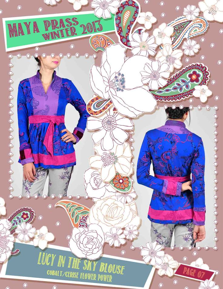 Lucy-in-the-Sky blouse cobalt Flower Power
