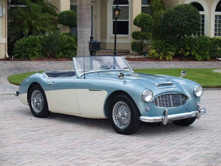 Austin Healey 100/6 classic color combination iceblue over white
