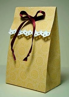 Simple Gift bag. Use real ribbon, and paper border or real lace trim.