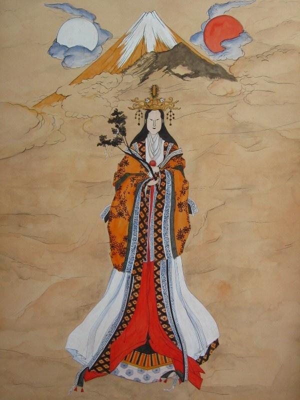Japanese Goddess Sengen Sama Goddess Of Mount Fuji And