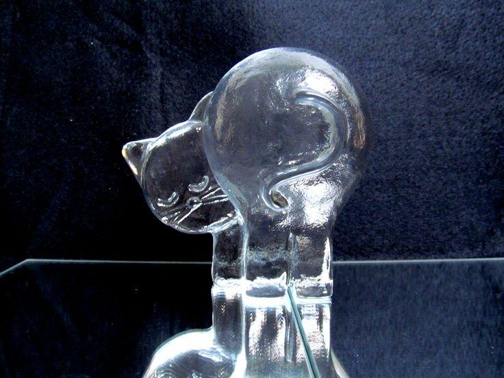 Vintage Scandinavian Glass Cat sculpture paperweight, flat back, art glass…