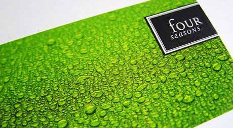 Four Seasons business card- Texture catches the eye