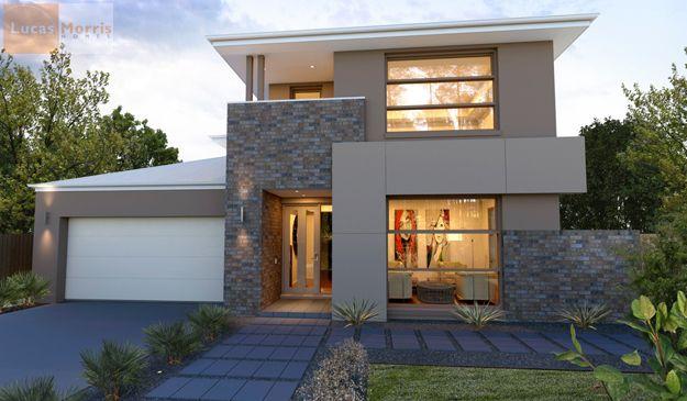Windows various facade materials duplex facades for Double story modern house plans