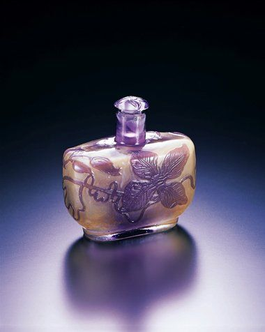 Emile Gallé Perfume Bottle with Clematis