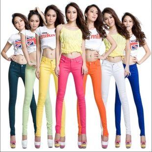 2016 новый Корейский стиль джинсы женщин тонкий размер многоцветной конфеты цвет тощий flare брюки брюки женщин бесплатная доставка n106