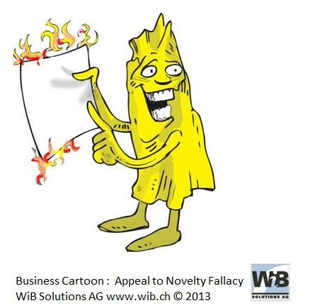 Business CartoonAppeal to Novelty by WiBi and WiB Solutions Switzerland. Check for more on management thinking mistakes at www.managementthinkingmistakes.ch