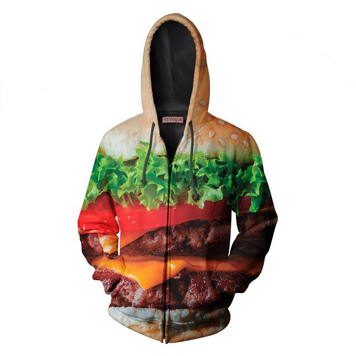 NEW!!! Burger ZipUp by Yo Vogue Clothing - This beautiful zip-up hoodie is made using an extremely soft garment and HD Photographic Printing Technology. The fine mixture of polyester and cotton allow us to print high definition images and create unique, fresh and innovative products. Just $69.95 from yovogueclothing.com Stand out from the crowd - Yo Vogue Clothing!