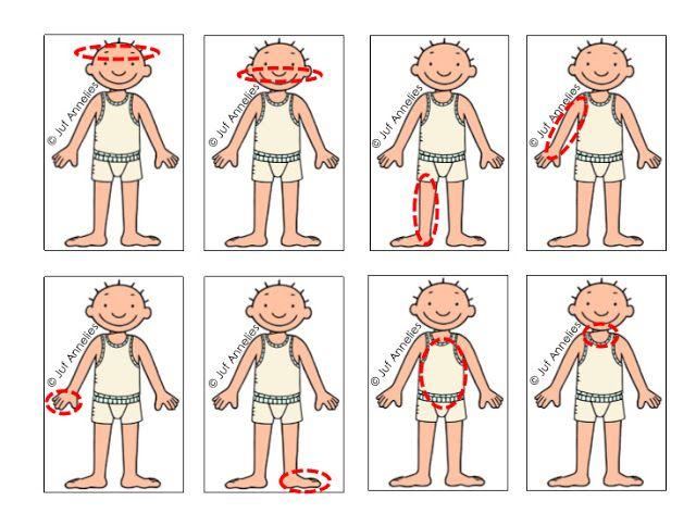 Kaartjes voor het spel met het  draairad Jules : pleisters kleven op het lichaamsdeel dat is aangeduid.(Juf Annelies)