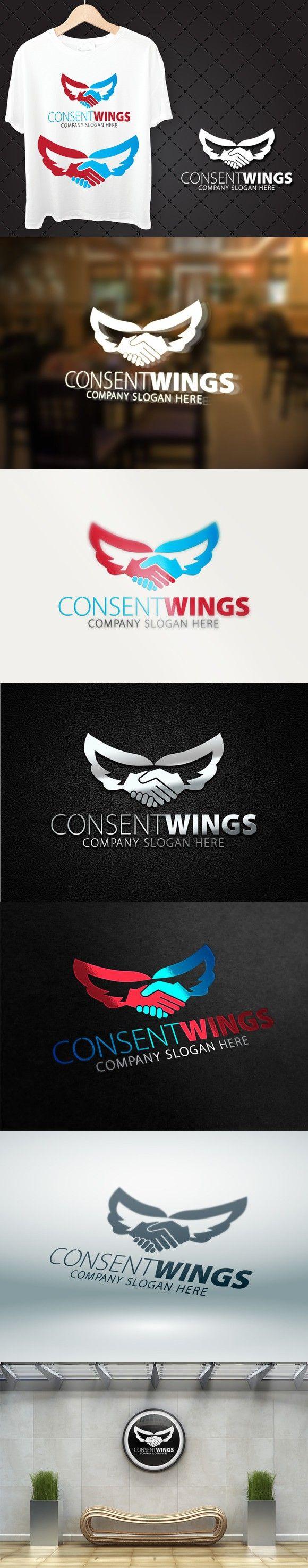 Consent Wings Logo. Premium Icons. $28.00