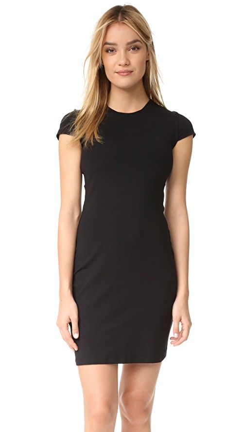 Susana Monaco Crew Dress | A little black dress designed with a simple crew neckline and a subtly flared skirt. Cap sleeves add a feminine finish. Built-in shelf bra. Unlined. Fabric: Mid-weight jersey. 86% supplex nylon/14% lycra spandex. Wash cold. Made in the USA. MEASUREMENTS Length: 34in / 86cm, from shoulder
