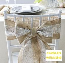 6PCS/lot Hessian Jute Burlap Chair Sashes Jute Chair Tie Bow Rustic Wedding decor vintage wedding decorationcenterpieces(China (Mainland))