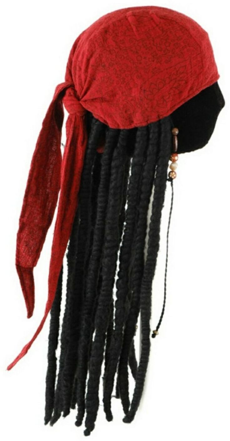 Authentic Pirate Costumes for Women | Adult Jack Sparrow Scarf with Dreads $30.90 - Men Pirate Costume