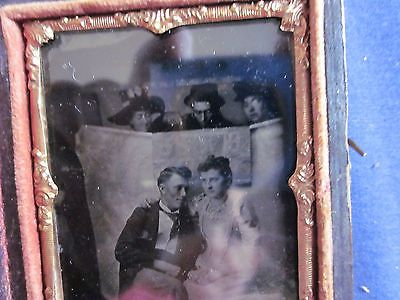 1/9 Tintype 3 People Spying on Romantic Couple over Room Divider Sheet Full Case