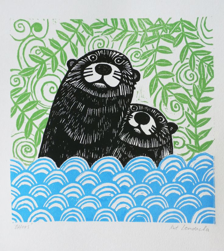 Otters, by Kat Lendacka, Original Linocut Print, Signed Open Edition, Free Postage in UK, Hand…