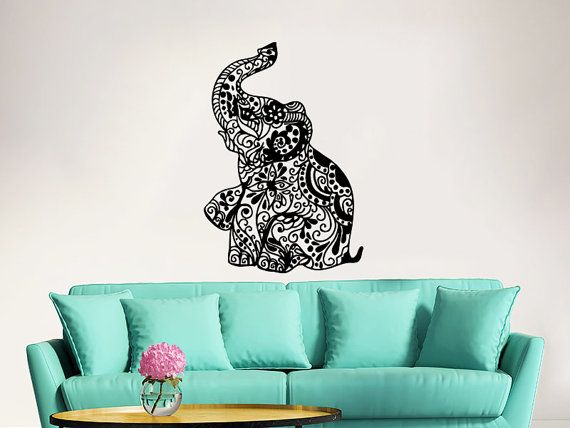 Elephant Wall Decal Stickers Floral Patterns Yoga Decals Home Decor Indie Wall Art Boho Bedding Nursery Bedroom Dorm Design Interior ZX100