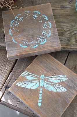 Stenciled wood coasters