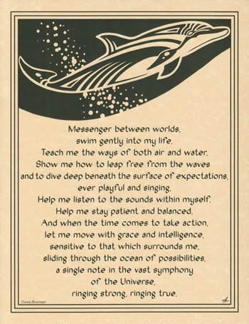 Dolphin Prayer Parchment Page Spirit Guide Wicca Parchment Book of Shadows New