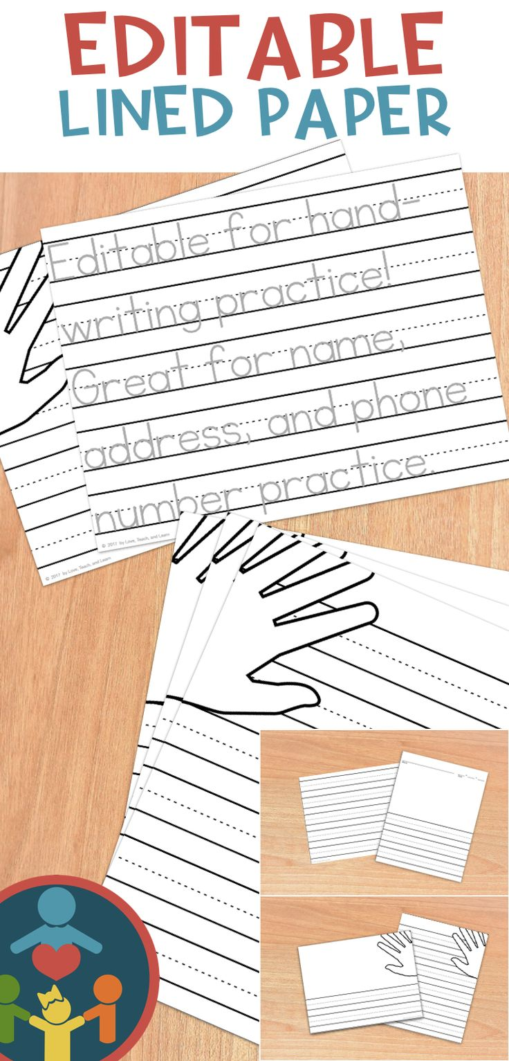 LOVE the hand placement visual aid! Primary lined paper can be used for handwriting practice, tracing sight words, tracing letters, as a name address and phone printable, and sentence starters or writing prompts. Use them in your literacy centers, writers workshop, Daily 5 rotation, or in small groups. Great for Kindergarten, first grade (1st grade), or homeschool students. (Lower elementary, primary grades). Easy download! No prep, ready to use with your kids. #loveteachandlearn