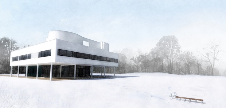 Villa #Savoye #NPR  Digital watercolor rendering made with #Sketchup + #Kerkythea + #Fotosketcher + #Gimp