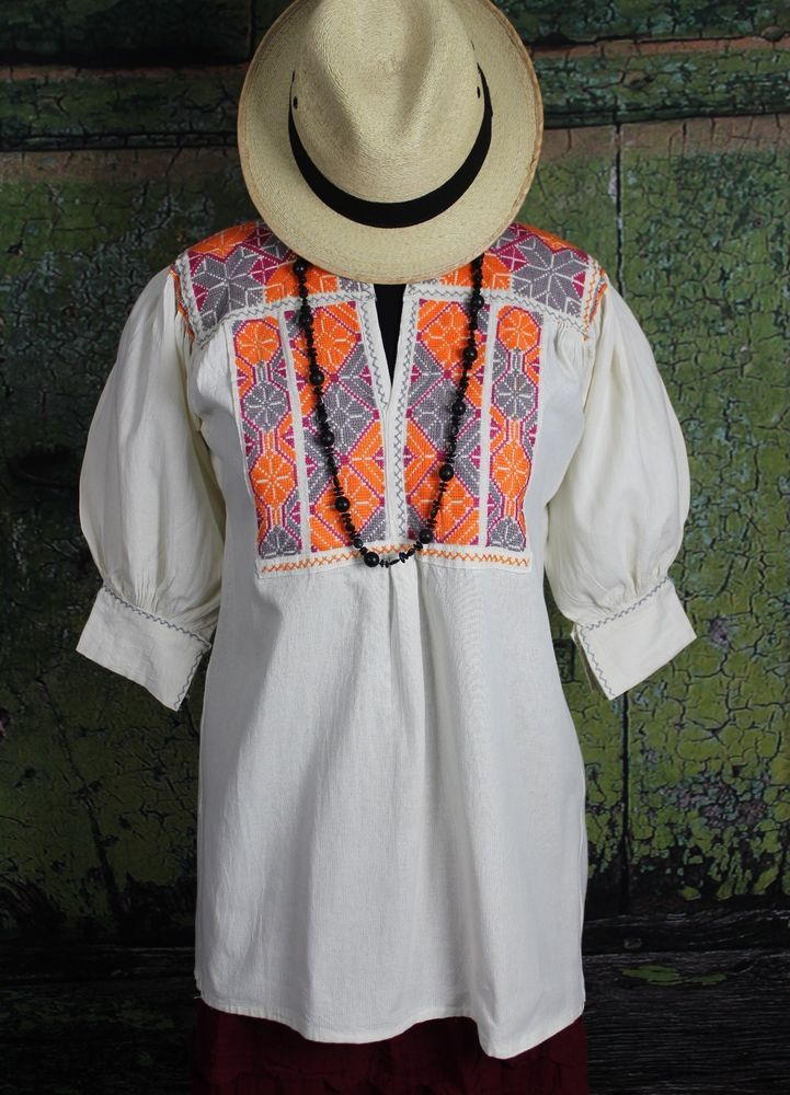 Orange Grey & Raspberry Hand Embroidered Blouse Ejutla Oaxaca Mexico Hippie Boho #Handmade #blouse