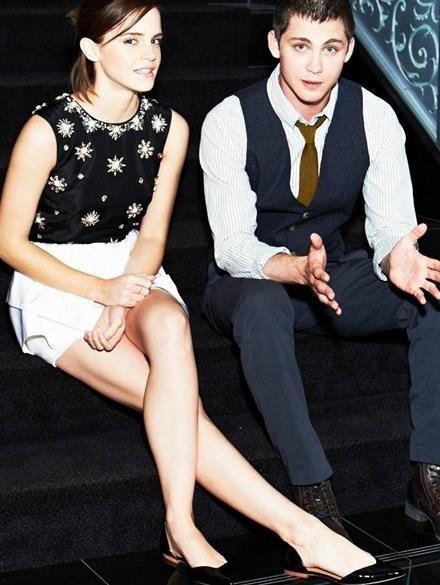 Logan Lerman and Emma Watson.